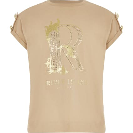 Girls embellished R button shoulder T-shirt