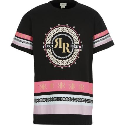 Girls black diamante print oversized T-shirt