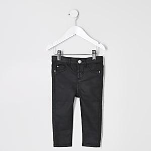 Schwarze, beschichtete Molly-Jeans für kleine Mädchen