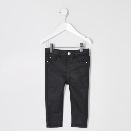 Mini girls black Molly coated jeggings