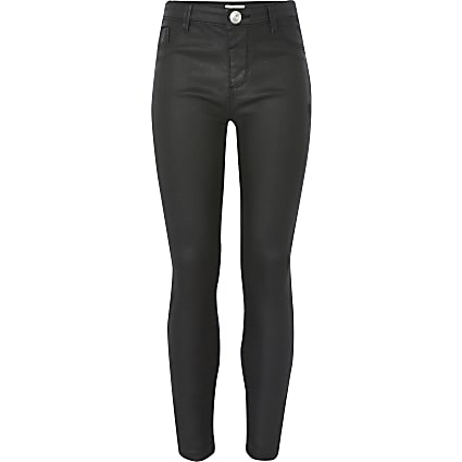 Girls black Molly coated mid rise jeggings
