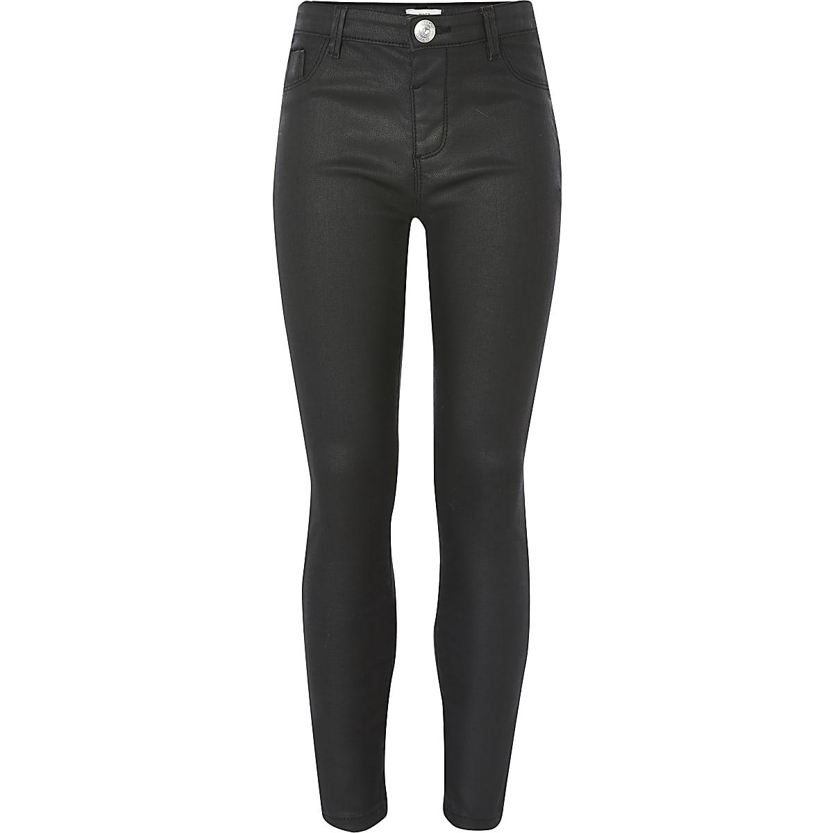 Molly - Zwarte jegging met coating en halfhoge taille voor meisjes