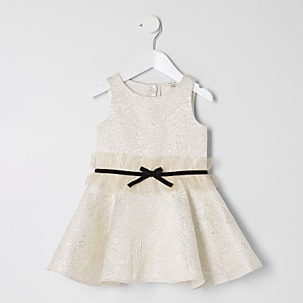 Mini girls gold jacquard bow waist dress