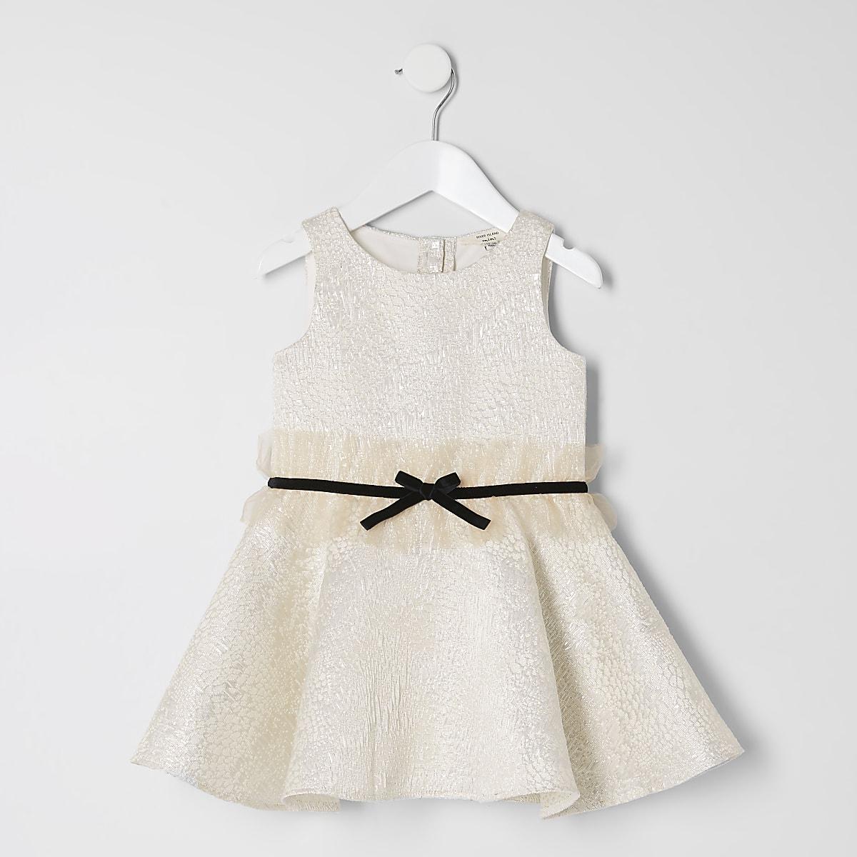 Mini girls gold jacquard bow waist dress