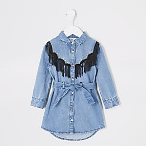 Mini – Blaues Blusenkleid mit Fransen und Nieten für Mädchen