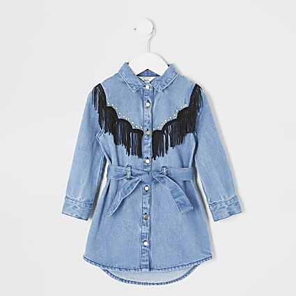 Mini girls blue tassel studded shirt dress