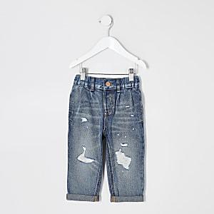 Mini – Blaue Mom-Jeans mit halbhohem Bund im Used-Look für Mädchen