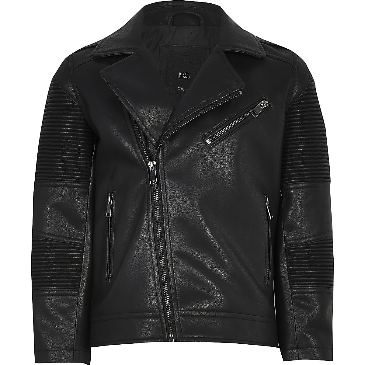 Boys black faux leather ridged biker jacket