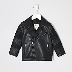 Mini – Schwarze Bikerjacke mit geriffelten Details für Jungen