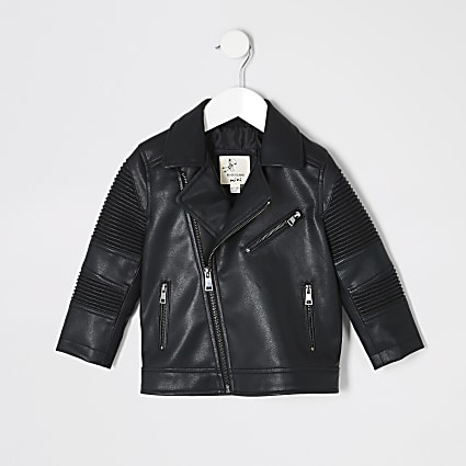 Mini boys black ridged biker jacket