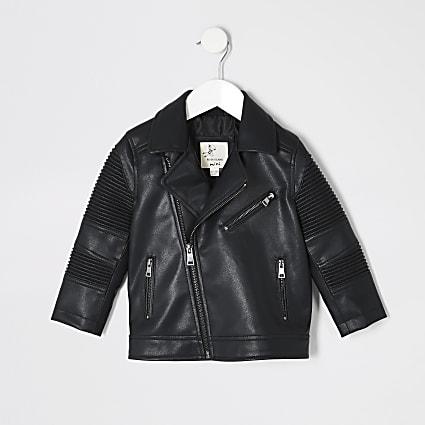Mini boys black ridged biker jacket