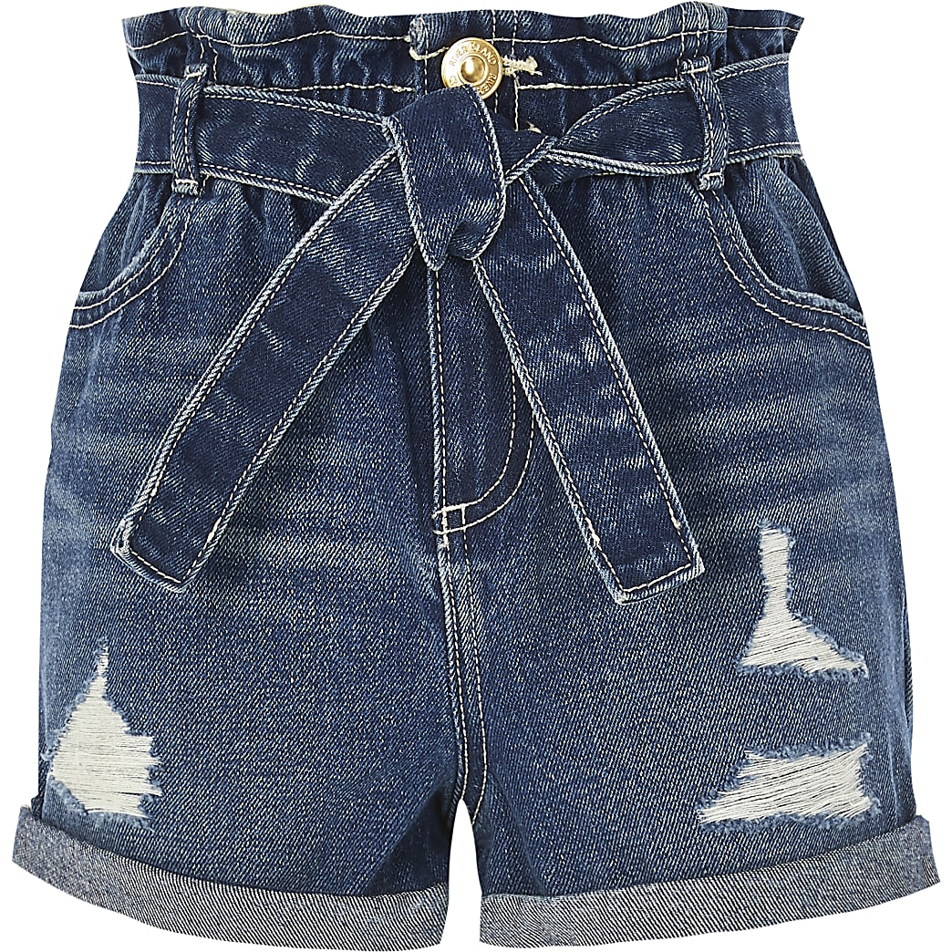 Girls blue ripped paperbag denim shorts