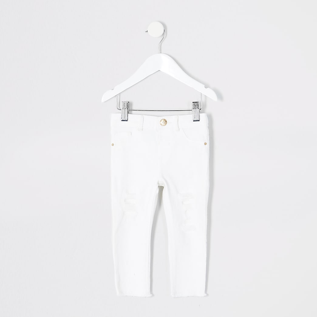 Mini girls white ripped Molly jeggings