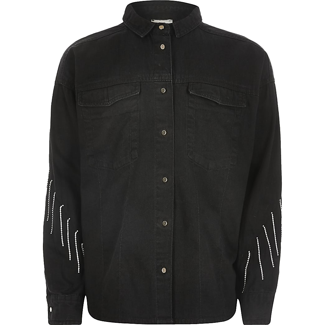 Girls black diamante tassel denim shirt