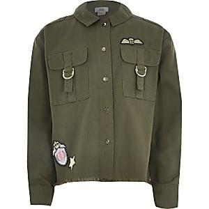 Veste-chemise utilitaire kaki avec badge pour fille