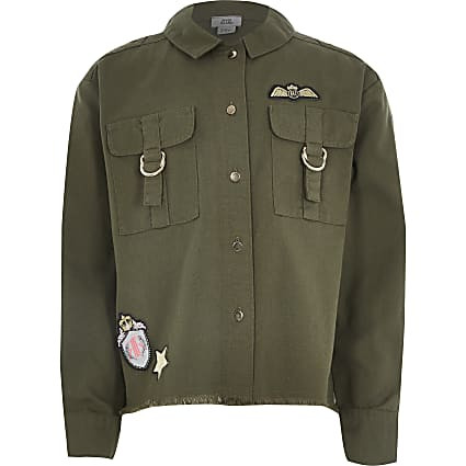 Girls khaki badge embellished utility shacket
