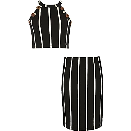 Girls black stripe crop top and skirt outfit