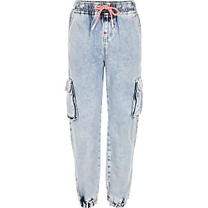 Pantalon de jogging en denim bleu délavé à l'acide pour fille