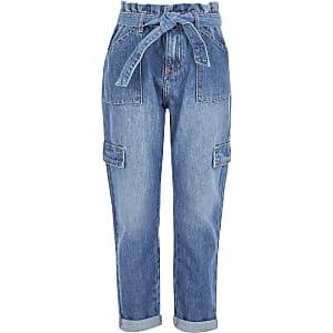 Blauwe jeans met geplooide taille en strikceintuur voor meisjes