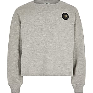 Girls grey cropped RI embossed jumper