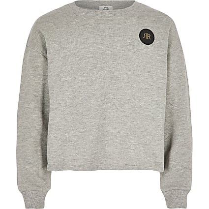 Girls grey cropped RI embossed jumper