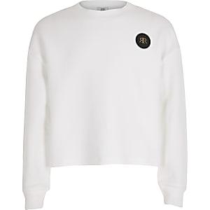 Witte cropped pullover met RI in reliëf voor meisjes