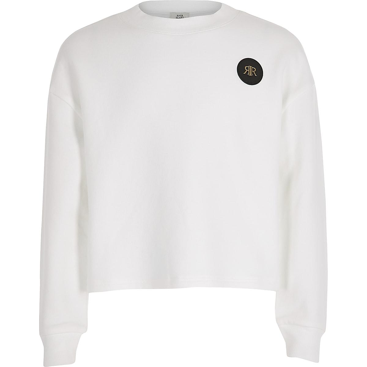 Girls white cropped RI embossed jumper