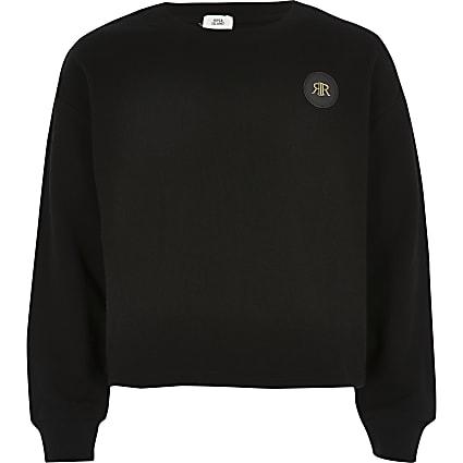 Girls black cropped RI embossed jumper