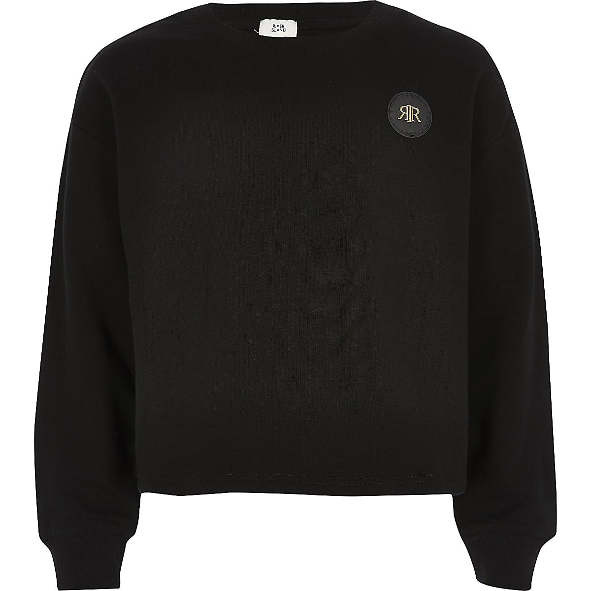 Girls black cropped RI embossed jumper