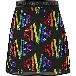 Zwarte A-lijn rok met 'River'-lovertjes voor meisjes