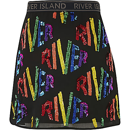 Girls black 'River' sequin A line skirt