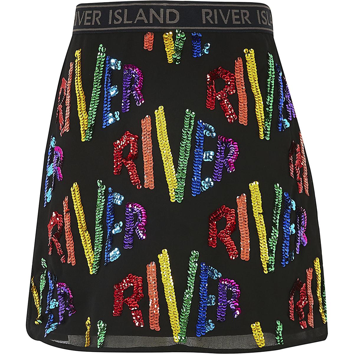 Girls black 'River' sequin A line skirt