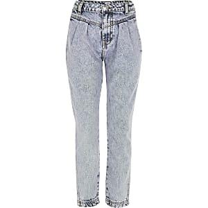 Blau gefärbte Mom-Jeans mit hohem Bund für Mädchen
