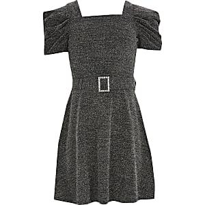 Glänzendes Skaterkleid in Schwarz mit Puffärmel für Mädchen