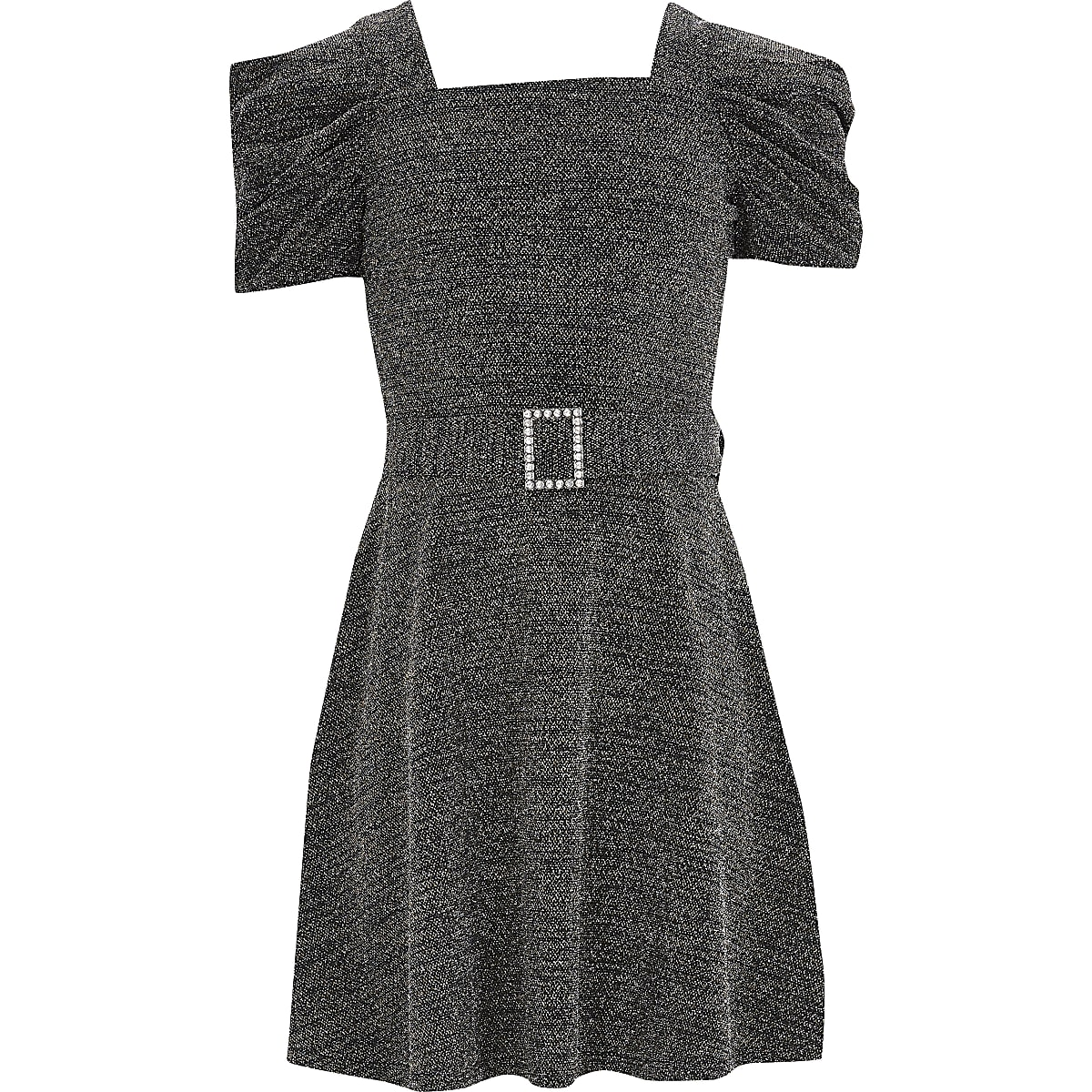 Girls black sparkle puff sleeve skater dress