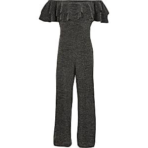 Schwarzer, funkelnder Overall mit Bardot-Ausschnitt und Rüschen für Mädchen