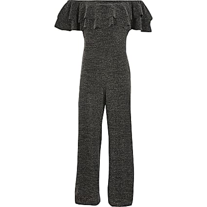 Girls black sparkle frill bardot jumpsuit
