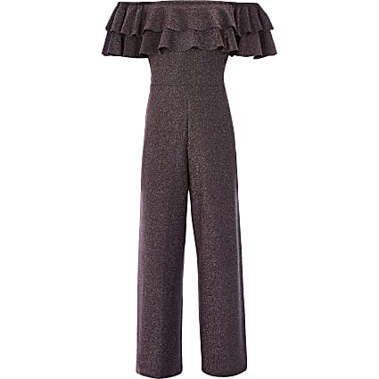 Girls pink sparkle bardot frill jumpsuit