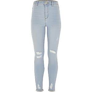 Girls blue ripped Kaia high rise jeggings