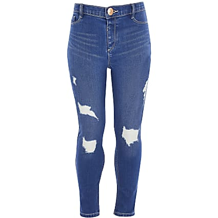 Girls blue Molly ripped jeans