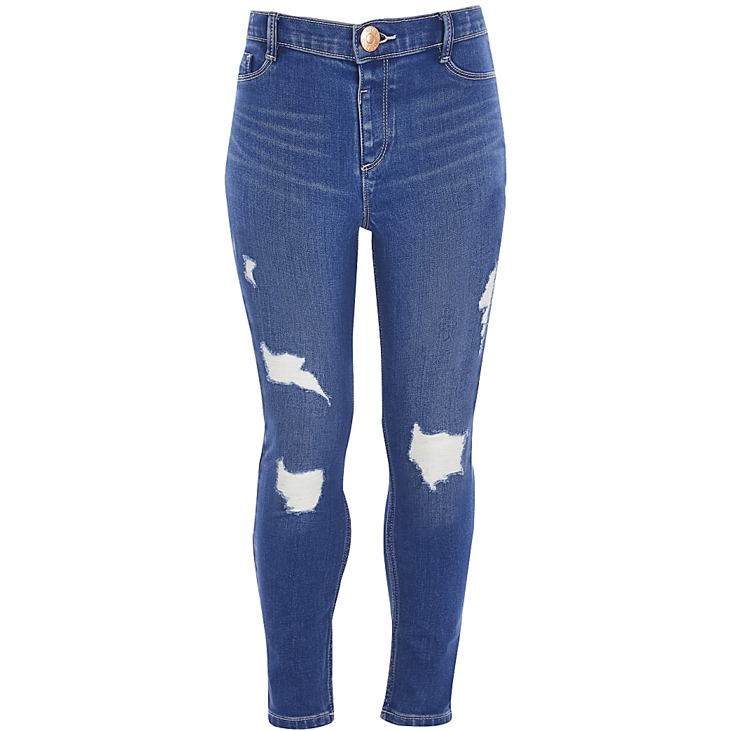 elegant shoes shades of casual shoes Girls blue Molly ripped jeans | River Island