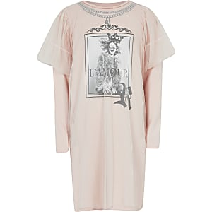Roze mesh T-shirtjurk met print voor meisjes