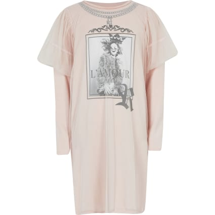 Girls pink printed mesh T-shirt dress