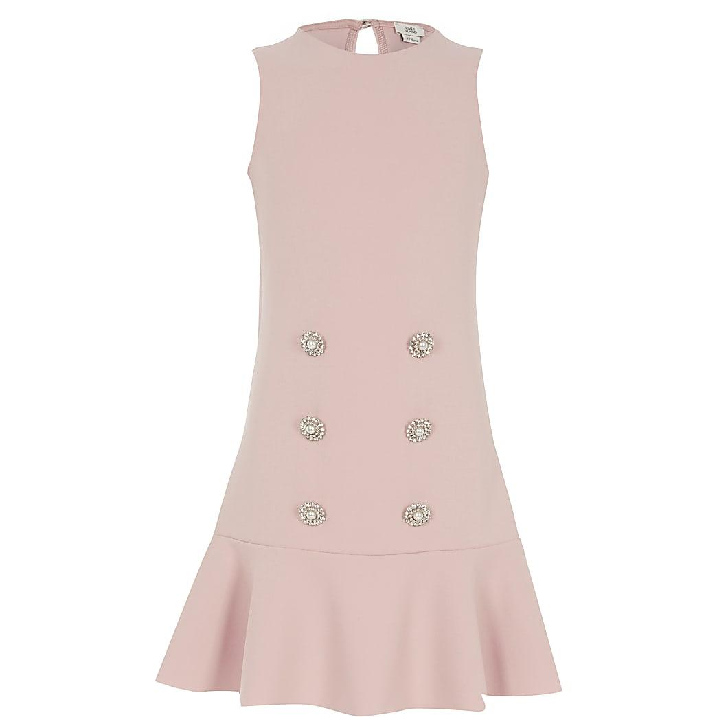 Girls pink embellished peplum shift dress