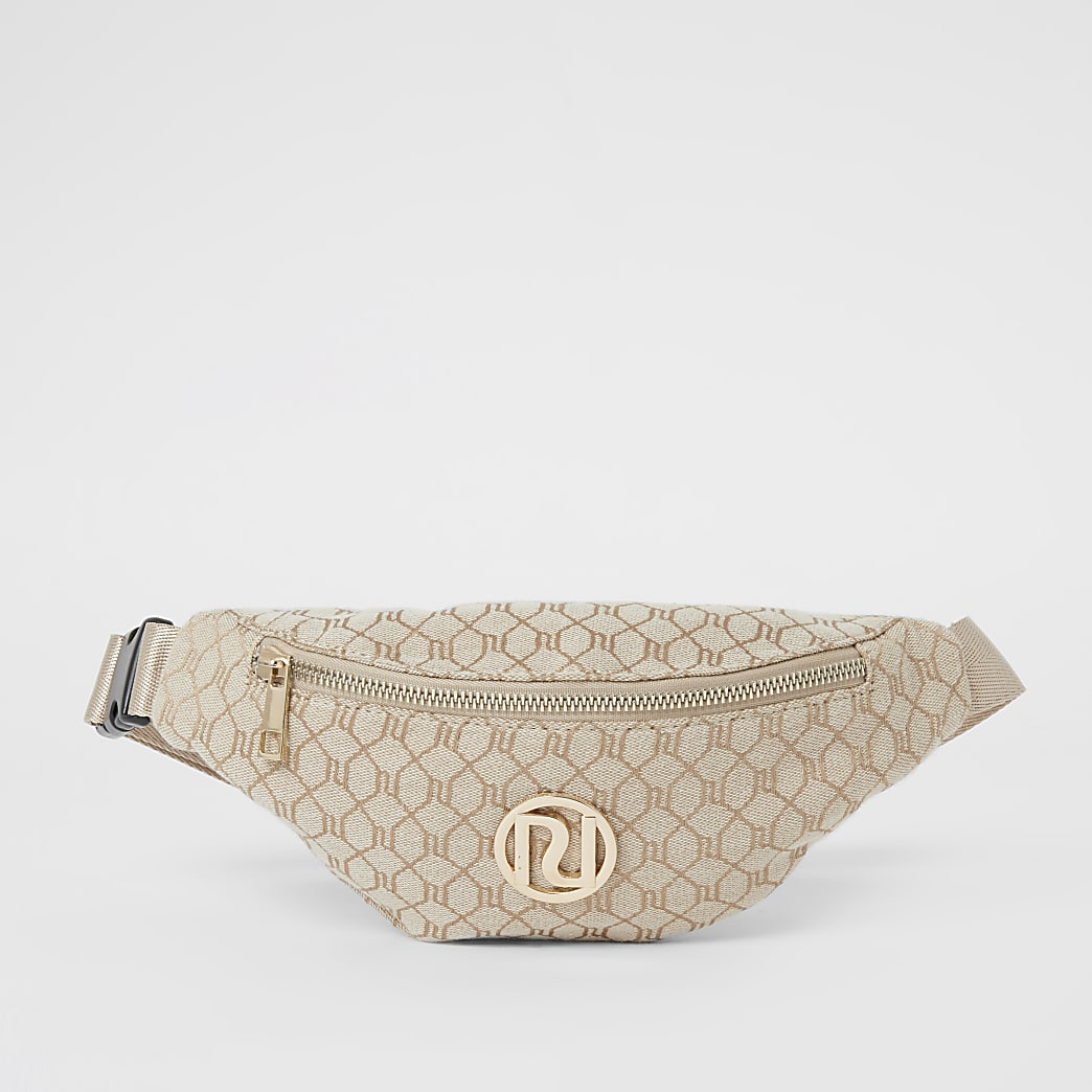 Girls brown RI monogram jacquard bumbag