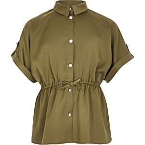Chemise kaki cintrée à manches courtes pour fille
