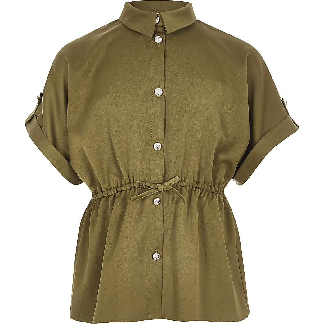 Girls khaki short sleeve waisted shirt