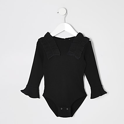 Mini girls black poplin frill bodysuit