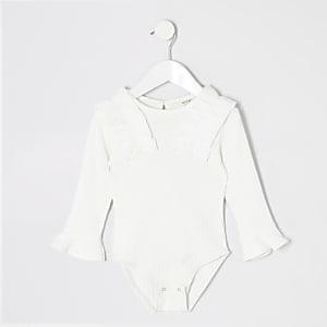 Mini - Witte bodysuit met ruches voor meisjes