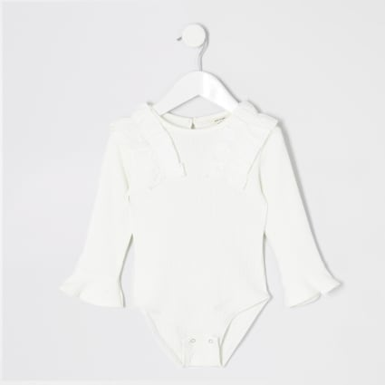 Mini girls white frill bodysuit